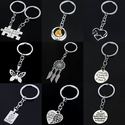 Keychain Silver Heart Pendant Keyring Best Friends Gifts Jewelry Family Love Hot