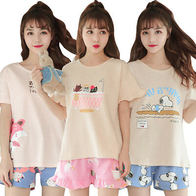 Women Sleepwear Cute Cartoon Pajama Sets Soft Short Sleeve Loungewear Summer Pj