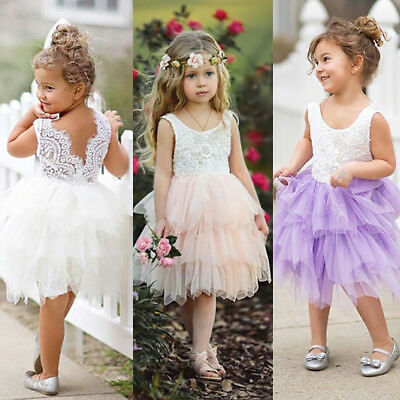 Baby Flower Girl Princess Lace Tulle Tutu Backless Formal Party Pageant Dress