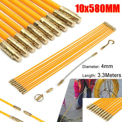 10PCS Wire Electrical Fish Tape Cable Fiberglass Kit Coaxial Puller Running Rods