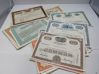34 Vintage Stock Certificates National Tool, All-State, Speedry Chemical 1929-73