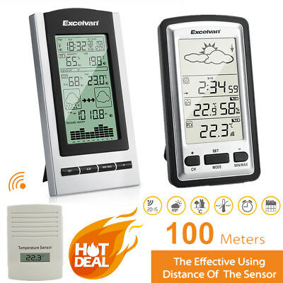 Digital Wireless Weather Station Temperature Humidity Forecast w/ Sensor LCD AA