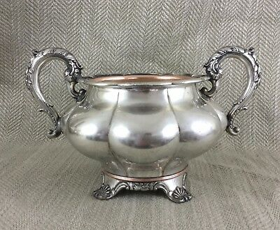 Old Sheffield Silver Plated Large Sugar Bowl Twin Handled Pot Ornate Victorian
