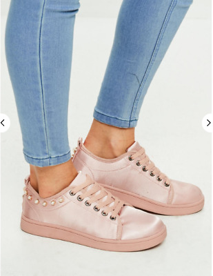 Missguided pink satin pearl trim lace up trainers £28 Size UK 3 - UK 7 (M 1)