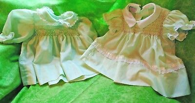 Lot of 2 Vintage Polly Flinders Hand Smocked Baby Dress Size 3 month