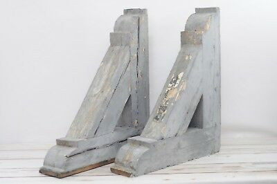 2 Antique Victorian Wood Corbels 1800s Architectural Salvage Brackets 27.5x24x5.