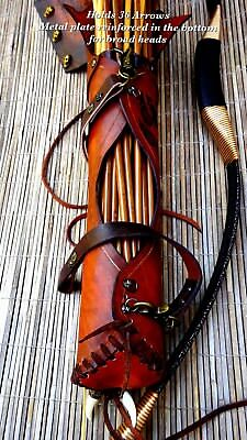 Archery Quiver 100% Handmade Genuine cow leather Custom made PYROGRAPHYwolf paws