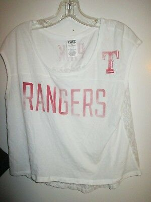 23b9465f93bc1 VICTORIA'S SECRET PINK S White Texas Rangers Cap Sleeve Lace Cropped  T-Shirt Top
