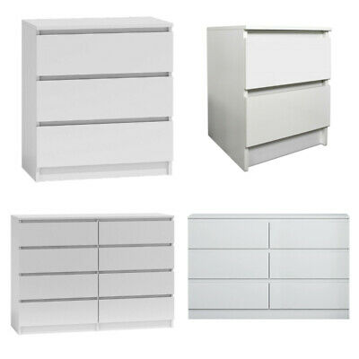 Carlton Matt White Modern Chest of Drawers 2/3/6/8 Tall Wide Chests & Bedsides