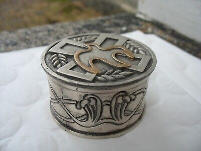 Vintage silver Holy Oil Stock or religious pyx with cross & dove container malco