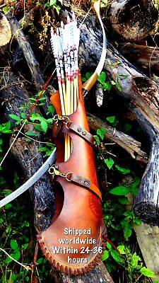 Quiver Genuin Cow hide leather hand made Pyrography Archery Custom made