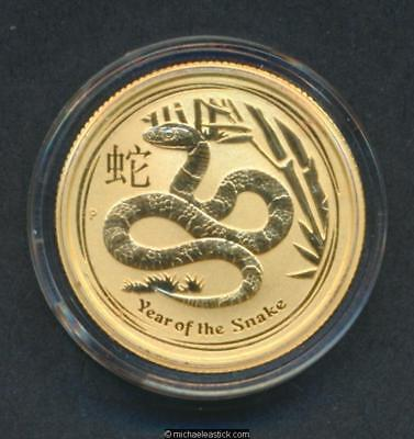 2013 Australian Perth Mint $25 Lunar Coin Year of the Snake 1/4 oz .9999 Gold