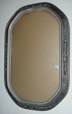 Antique Victorian Large Oval Silvered Gesso Trimmed Bubble Glass Wooden Frame