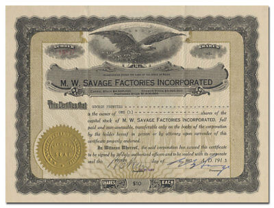M. W. Savage Factories Inc. Stock Certificate (Dan Patch, Signed by EB Savage)