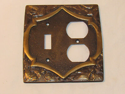 vintage Amerock Monterey Antiqued Brass Single Toggle Outlet switch plate cover