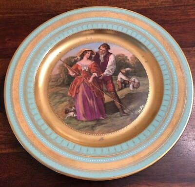 """Great Antique Royal Vienna Cabinet Plate """"On The Hay"""" Romantic Harvest Scene"""