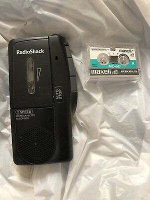 RadioShack 2 Speed Microcassette Recorder With 1 New Tape , Model 14-1148
