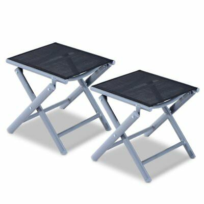 2 Set Black Footstool Outdoor Garden Patio Travel Footrest Fold Aluminium  Frame