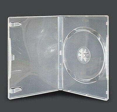 100 Standard Single 14mm HOLD 1 DVD Cover Disc Case + outer wrap insert CLEAR -C