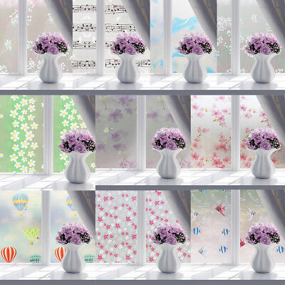 BU_ 3D No Glue Static Removable Home Decorative Privacy Window Films Tinted Clin