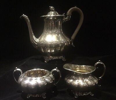 Antique Rogers Silverplate Three Piece Tea Set Pattern Melon 7377