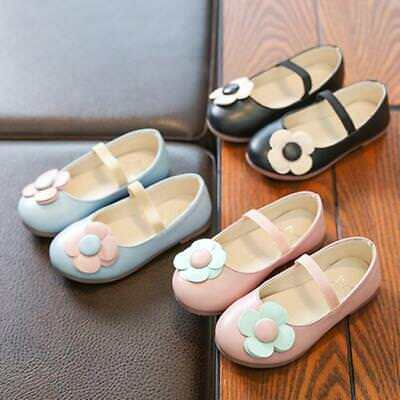 Toddler Infant Kids Baby Girls Flower Leather Princess Single Casual Shoes Cute