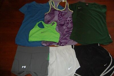 Nike & Adidas Lot of 7 Women's Size XS Athletic Sports Bra Tops Shirts Shorts
