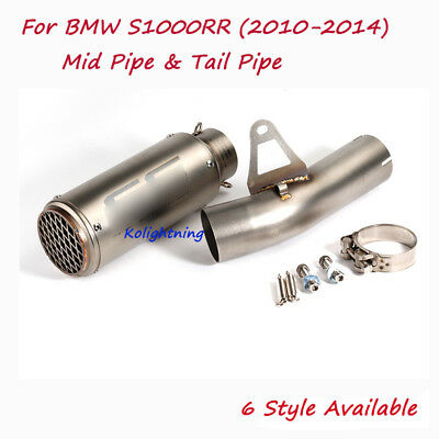 For BMW S1000RR 2010-14 Motorcycle Exhaust System Mid Connect Pipe Exhaust Tips