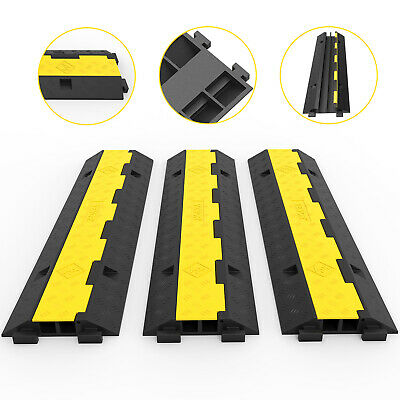3PCS 2-Cable Rubber Electrical Wire Cover Protector Ramp Snake Cord Vehicle
