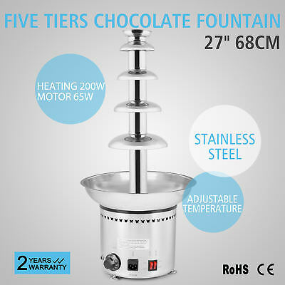 """Large New 5 Tiers Stainless Party Hotel Commercial 27"""" 68cm Chocolate Fountain"""