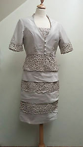 Bride or Mother of the Bride Outfit, Oyster, Ian Stuart, beautiful pearl detail