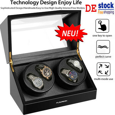 Luxus Uhrenbeweger 4 Uhren Display Boxen Aufsteller Watch Box Winder Uhrenbox DE