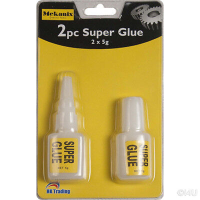 2 X 5g STRONG SUPER GLUE ADHESIVE SURFACE INSENSITIVE FAST INSTANT GLUE TOOL
