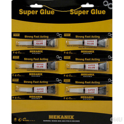 6 X Strong Super Glue Adhesive Surface Insensitive Fast Instant Gel Tool