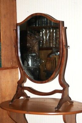 Antique Shield Shaped Mahogany Dressing Mirror - FREE Shipping [PL4330]