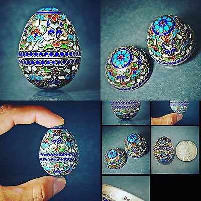 Rare Antique Russian 84 Zolotnik Silver & Cloisonné Enamel decorative egg