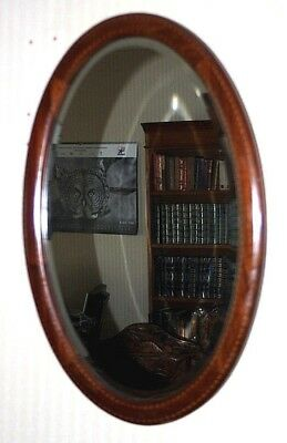 Antique Edwardian Mahogany Inlaid Oval Wall Mirror - FREE Shipping [PL4329]