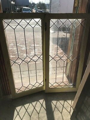 """Sg 2198 Match Pair Antique Leaded Glass Cabinet Doors 19 7/8"""" By 42"""