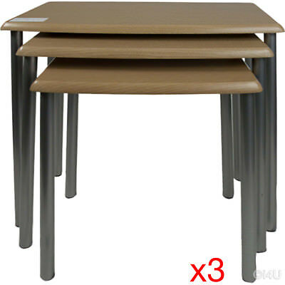 3 X 3 Sets Contemporary Nesting Tables Living Room Side Nested Tables Metal Pole
