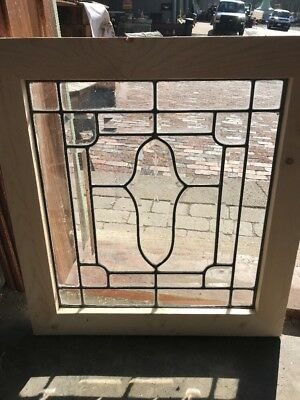 SG 2204 antique beveled and leaded landing window 22.25 x 24.25H