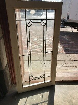 Sg 2206 Antique Beveled And Leaded Glass Transom Window 19.25 X 38