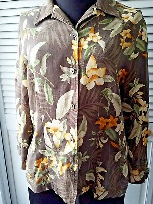 34c55af8 Tommy Bahama Womens 100% Silk Hawaiian Aloha Shirt Button Down Floral M  fitted