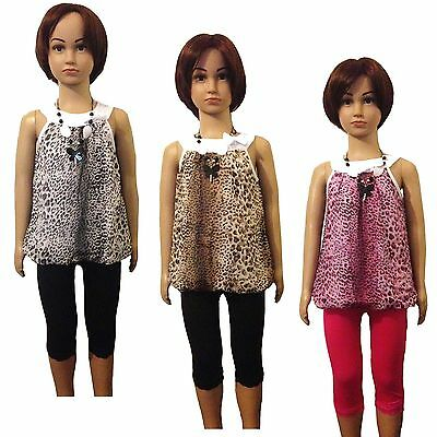 NEW Girls Leopard Tunic Dress Top Leggings Necklace 3 Pieces Set Outfit 3-6y #78