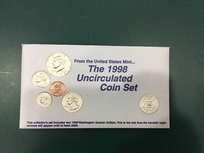 1998 Mint Set Original Envelope 10 US Coins Kennedy Half Dollar