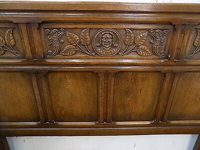 carved,oak,double bed,bedframe,bed,double,oak bed,bedroom,antique,edwardian,1900