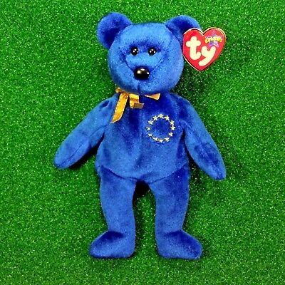 107b8668e02 NEW Ty Beanie Unity The Bear (Europe Exclusive) 2001 European Union Teddy -  MWMT