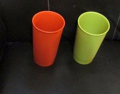 tupperware glasses-PAIR OF weighted bottomed glasses-one has a chip around the