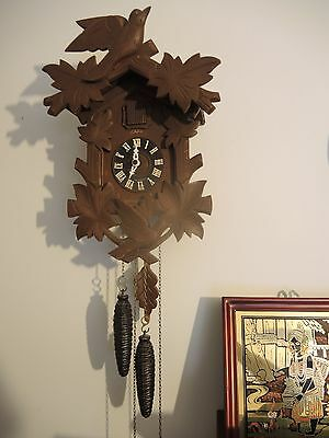 "Cuckoo Clock HECO made in Germany 13"" tall  2 bird"