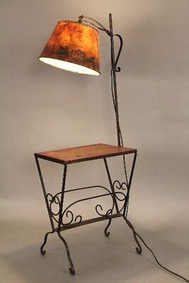 Attractive Monterey Period Iron Side Table / Lamp With Magazine Rack (10970)