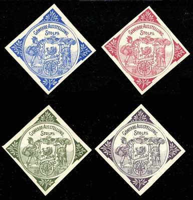Germany Poster Stamps - 1896 Stolp - Industrial Exhibition - Set of 4